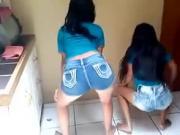 Two teen latinas dancing