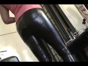 mom in leather pants