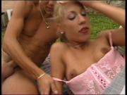 Hot blonde lays outside and gets her pussy licked by boyfriend