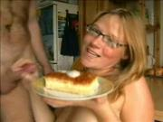 Blonde takes cum and eats it on cake!