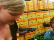 Candid Teen Downblouse Buying Shoes