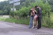 Public - public sex threesome by a highway