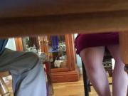 Allison under the table upskirt