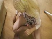 Blonde Teen Starts The Action