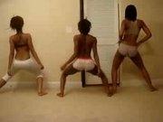 Amazing Ebony Trio Booty Shake Tease