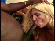Blonde white woman with nice tits loves to suck on a big black thug dick
