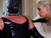 British slut Angel Long fucks a guy in a mask