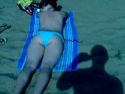 Jercing cumming and abusing girl on beach, russian