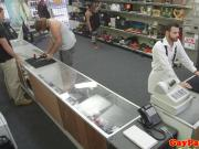 Straight guy sucks pawnbroker behind counter
