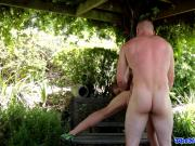 Ripped jock assfucked outdoors doggystyle