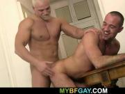 Big blonde hunk drilling his friend's ass
