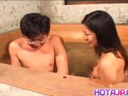 Ran Asakawa with hot jugs gives blowjob and is fingered