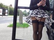 pink thong windy upskirt stockings