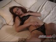 Hairy pussy wife fingers wet pussy with black panties on at