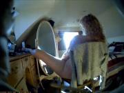 Hidden wife mast - anal dildo - mirror