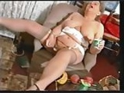Chubby Old Granny in Stockings Messy with Yogurt