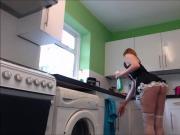 Pink pussy redhead in maid uniform