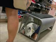 blonde MILF upskirt in shoe store