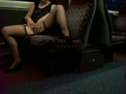 Public masterbation noisy orgasm on train