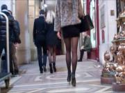 Two blonde in mini skirt pantyhose and high heels