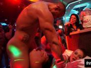 Naughty pornstars fucking in a club