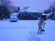 Nude snow shoveling cotin'd