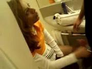 Dutch Brunette Giving Blowjob At A Toilet