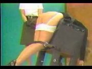 Blonde teen gets a hard caning