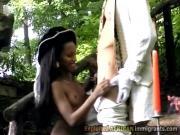 Horny perv makes sista kneels to suck
