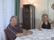 Perverted old parents fuck blonde girl