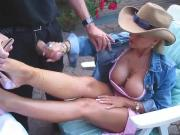 Busty Blonde In The Backyard Strokes A Cock
