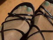 Turquoise Toes in Pantyhose