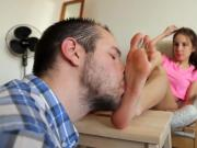 Slave Stepdad Worships Stepdaughter Feet