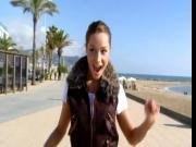 Wonderful teen has sex on public beach