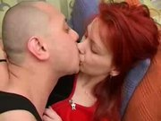 Sexy redhead mature mother fucked her young son