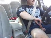 Driving and stroking my cock