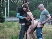 PUBLIC sex threesome orgy with a pretty girl