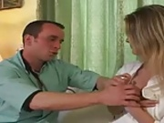 French doctor gives blonde a shot, in the ass !