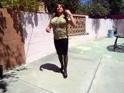 transgender pink flowers design mid sleeve dress video1