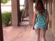 My Goddess flashing ass in short skirt at busy apartments