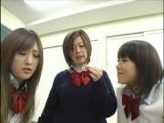 Reverse Gangbang by 3 horny schoolgirls