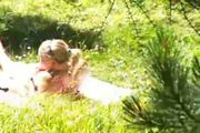 hot blonde teen masturbates in the garden of the kempenski