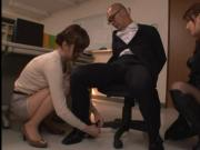 Girls subdue the sleazy manager