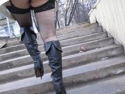 Baby in fishnet stockings going upstair
