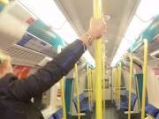 London slut pole dancing on the tube