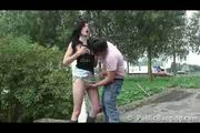 Public - public sex couple by a busy highway