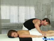 Gorgeous babe massaged before doggystyle