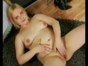 Horny Fat Chubby Blonde spreading her wet hairy pussy