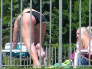1 of 3 Candid Bikini Butt Tanning Pool Selfie Blonde Redhead