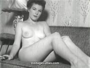 Sexy Brunette Babe Posing 1950s Vintage